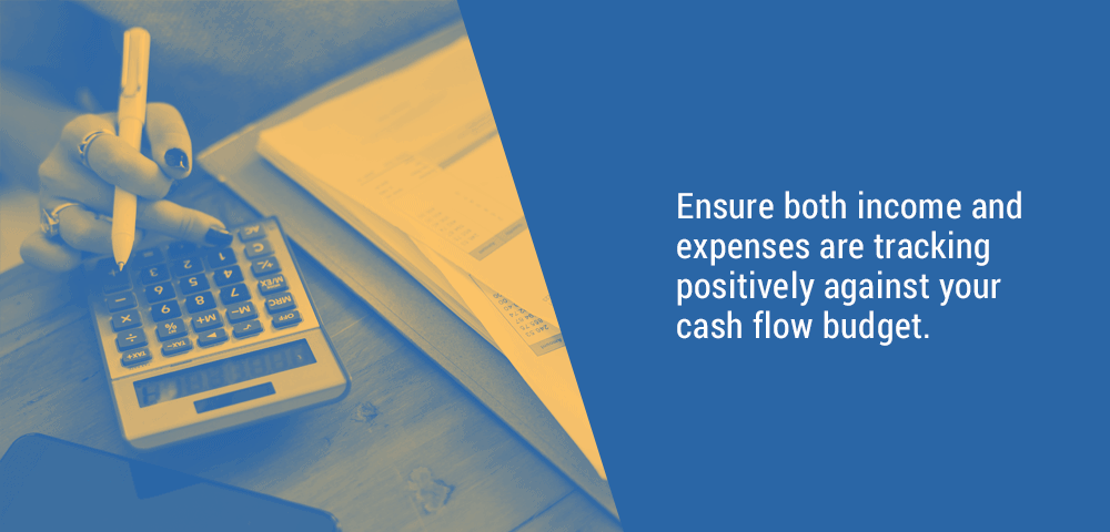 ensure income and and expenses are tracking against cash flow budget