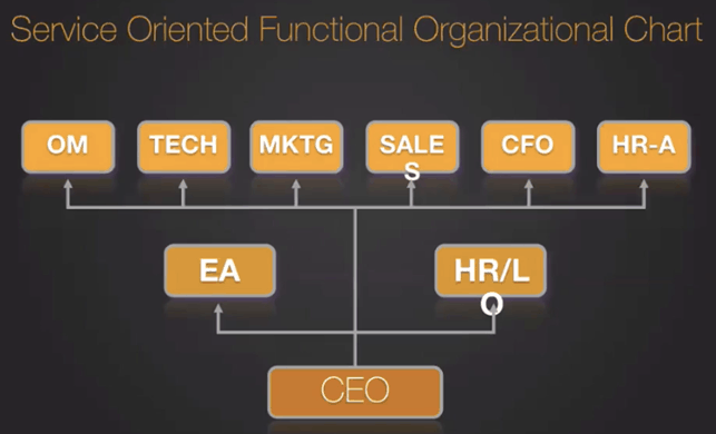 service oriented functional organizational chart